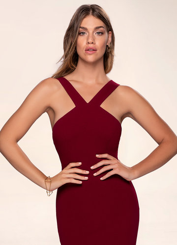 Darling Burgundy Stretch Crepe Maxi Dress