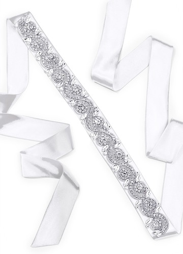 Charmeuse Sash with Swirl Beading