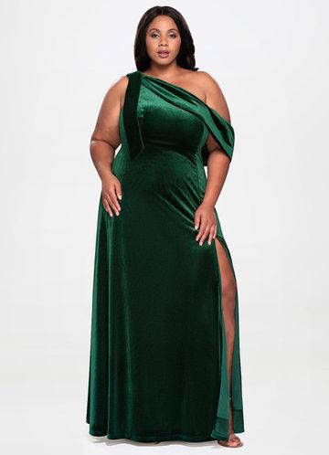 La Belle Dark Green Velvet Maxi Dress