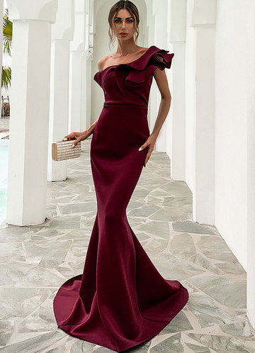 front_Missord Asymmetrical Neck Mermaid Hem Dress