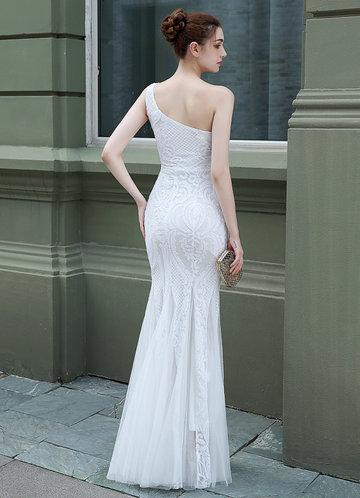 back_Kalinnu One Shoulder Sequined Maxi Mesh Dress