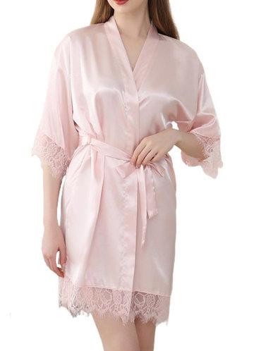 back_Bridesmaid Glitter Print Lace Satin Robe
