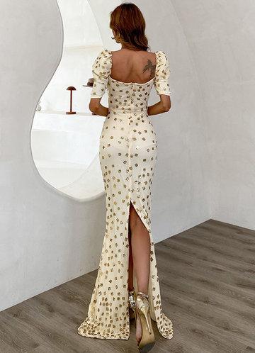 back_Missord Foil Print Back Split Maxi Dress