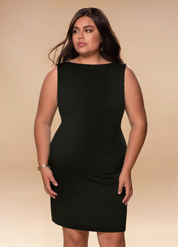 Natasha Black Open Back Midi Dress