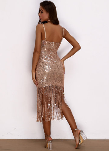 back_Joyfunear Split Thigh Fringe Hem Sequin Bodycon Dress