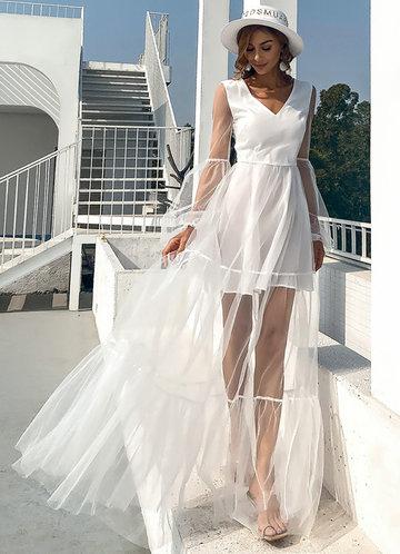 front_Missord Lantern Sleeve Mesh Dress