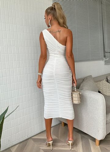 back_Joyfunear One Shoulder Ruched Mesh Bodycon Dress