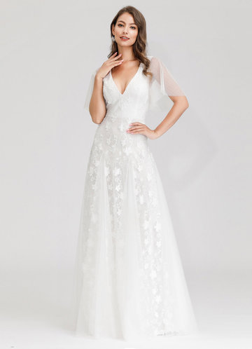 front_EVER-PRETTY Flutter Sleeve Embroidered Mesh Prom Dress