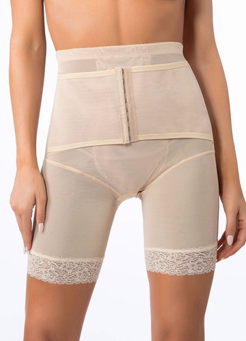 front_High Waisted Mid Thigh Padded Butt Shaper with Tummy Control