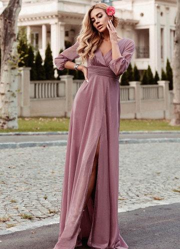 front_EVER-PRETTY Plunging Neck Split Hem Glitter  Dress