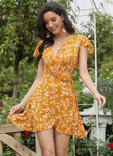 front_EVER-PRETTY Surplice Neck Belted Ruffle Hem Floral Dress
