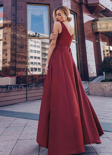 back_AZ V-Neck High Low Prom Dress