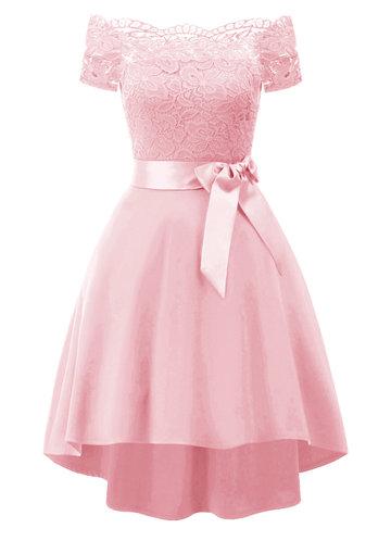 front_Caidienu Vintage Off Shoulder Lace Skater Dress