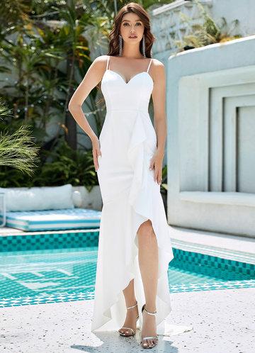front_EVER-PRETTY Zip Back Ruffle Trim Asymmetrical Hem Cami Dress