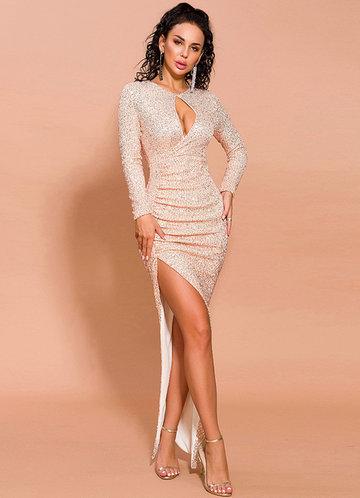 front_Missord Cut-out Front Asymmetrical Hem Sequin Dress
