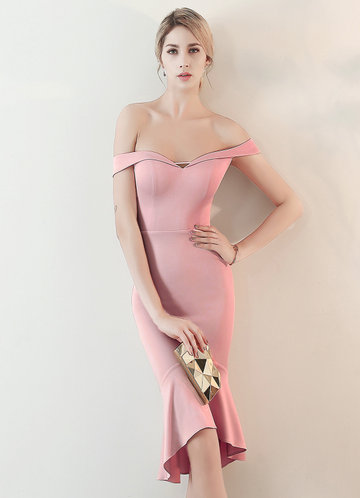 front_Kalinnu Off Shoulder Ruffles Hem Midi Dress