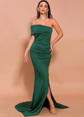 front_Missord Strapless High Split Maxi Dress