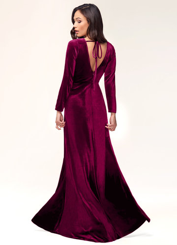 back_Blush Mark New Moon {Color} Velvet Maxi Dress