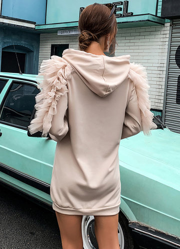 back_Missord Mesh Ruffle Trim Drawstring Hooded Sweatshirt Dress
