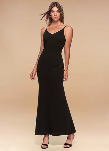 Day to Night Black Stretch Crepe Maxi Dress