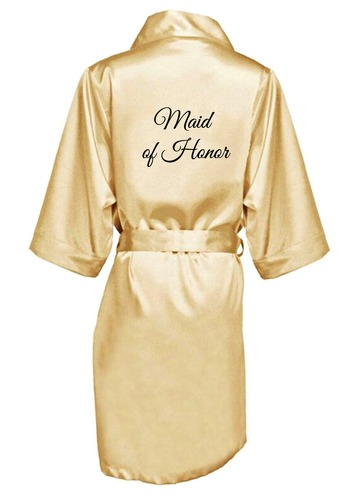 Azazie Embroidered Maid Of Honor Satin Robe