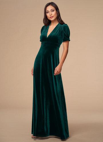 Beautiful Dreamer Dark Green Velvet Maxi Dress
