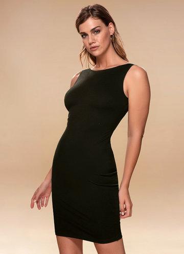 Natasha Black Open Back Midi Dress