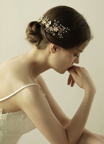 front_Floral Bridal Combs