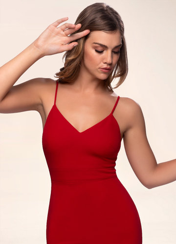 Whisper Red Stretch Crepe Bodycon Dress