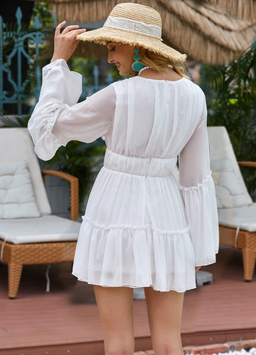 back_Missord Plunging Neck Frill Ruffle Hem Chiffon Dress