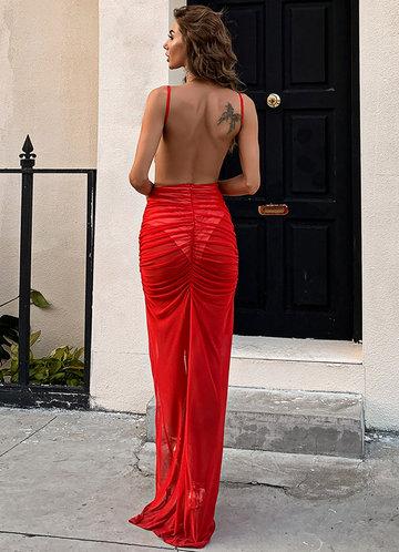 back_Missord Backless Split Thigh Ruched Mesh Dress