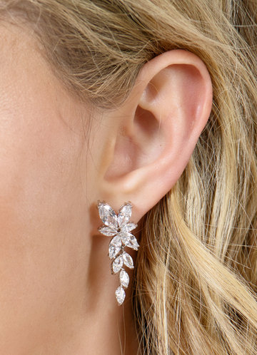 back_Floral Leaf Rhinestone Drop Earrings