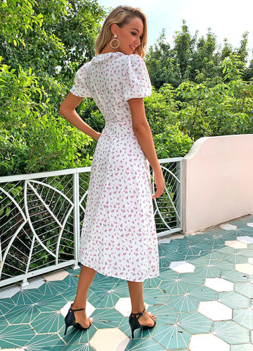 back_Joyfunear Ditsy Floral Print Ruffle Wrap Knotted Dress