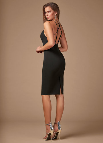 Blush Mark Cocktail Hour black Midi Dress