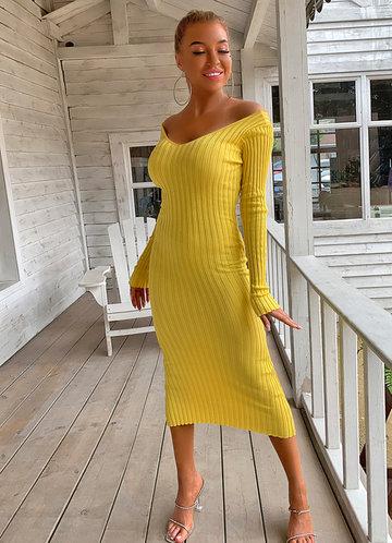 front_Joyfunear Double V Neckline Rib Knit Dress