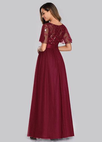 back_EVER-PRETTY Embroidery & Sequin Bodice Mesh Dress