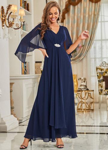 front_EVER-PRETTY Chiffon Cloak Sleeve Waist Decor Dress