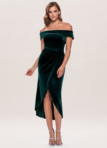 Sweet Desire Dark Green Velvet Midi Dress
