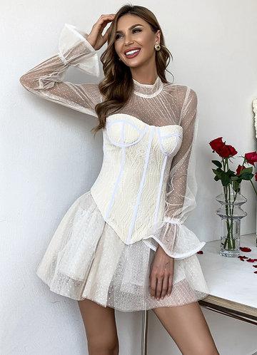 front_Missord Mock Neck Bell Sleeve Dobby Mesh Bustier Dress