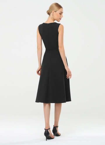 back_EVER-PRETTY Square Neck Pleated Waist Dress
