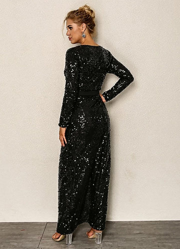 back_Joyfunear Surplice Neck High Split Belt Sequin Dress