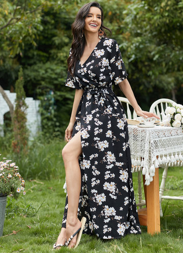front_EVER-PRETTY Floral Split Thigh Belted Dress