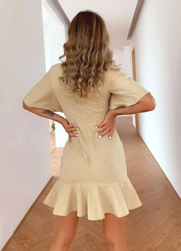 back_Joyfunear Flounce Sleeve Button Front Ruffle Hem Dress