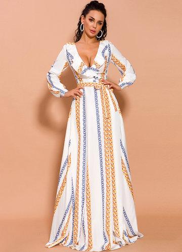 front_Missord Chain Print Split Thigh Plunge Neck Ruffle Dress