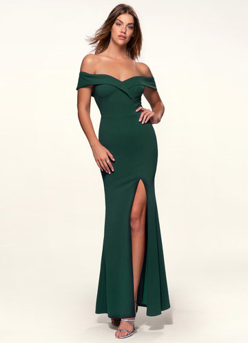 Blush Mark My Valentine dark emerald Stretch Crepe Maxi Dress