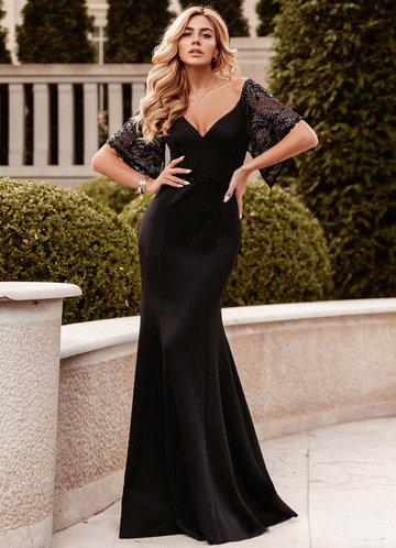 front_EVER-PRETTY Contrast Sequin Mesh Split Sleeve Dress