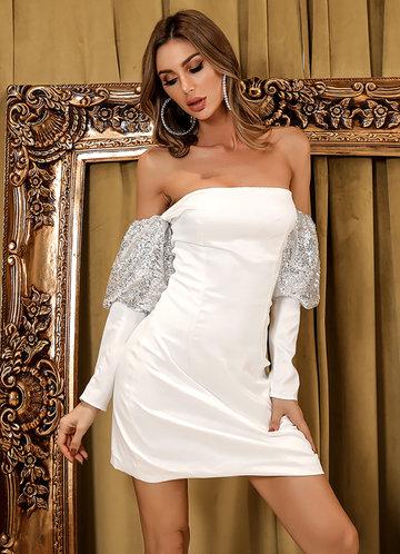 front_Missord Sequin Gigot Sleeve Bardot Dress