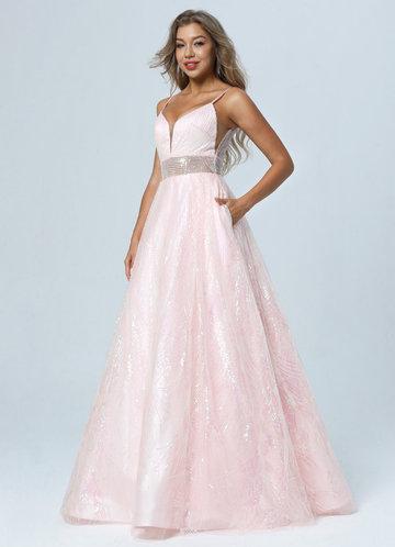 front_AZ Pink Petals Prom Dress