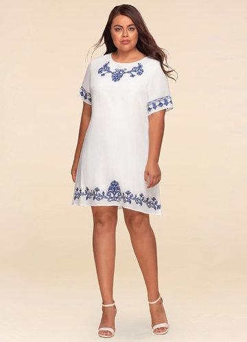 Monaco Embroidered Ivory Shift Dress
