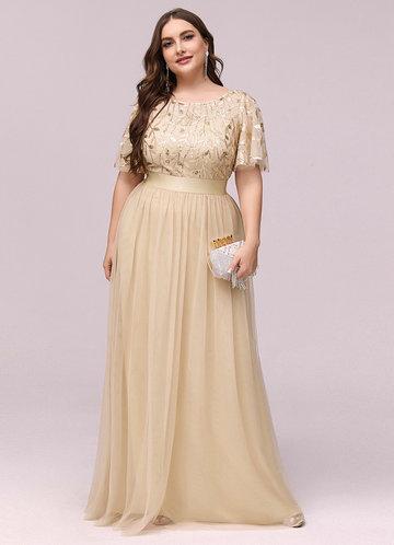 front_AZ Plus Size Leaf Sequin Bodice Mesh Prom Dress